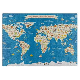 Planche À Découper Badine la carte du monde avec des animaux