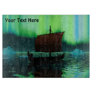 Planche À Découper Bateau de Viking et lumières du nord