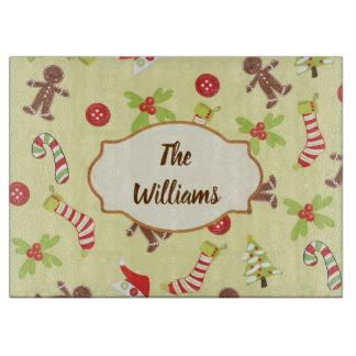 Planche À Découper Boutons et bonhommes en pain d'épice de Noël