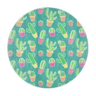 Planche À Découper Cactus au néon d'aquarelle dans le motif de pots