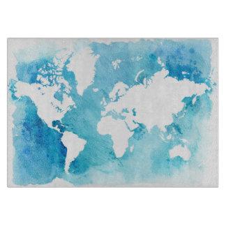 Planche À Découper Carte du monde dans des bleus d'aquarelle