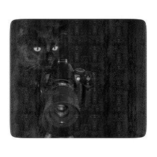 Planche À Découper Chat noir drôle avec l'appareil-photo