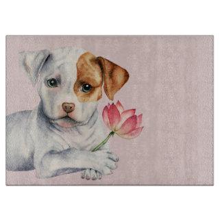 Planche À Découper Chiot de pitbull tenant la peinture de fleur de