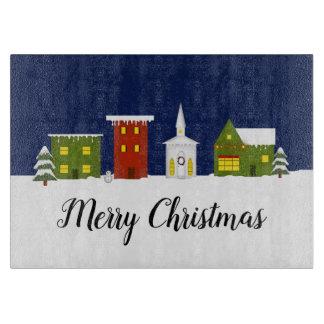 Planche À Découper Conseil de taille du verre de ville de Noël