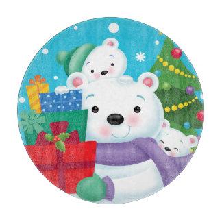Planche À Découper Conseil rond de taille du verre d'ours blancs