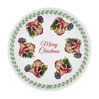 Planche À Découper Éléphants doux vintages de Joyeux Noël de Père