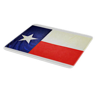 Planche à découper en verre de drapeau du Texas