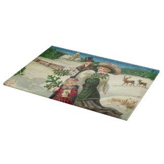 Planche À Découper Famille vintage de Noël de conseil de taille du