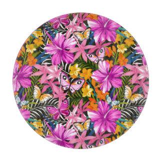 Planche À Découper Feuille et fleurs tropicaux