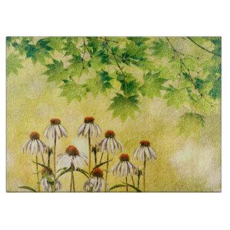 Planche À Découper Fleurs blanches lumineuses et gaies d'echinacée