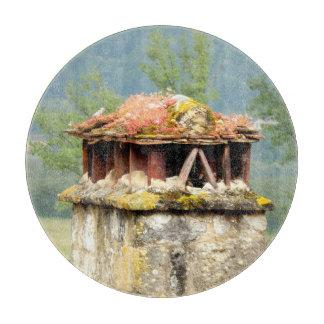 Planche À Découper Hachoir en verre de cheminée française antique