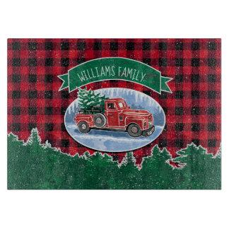 Planche À Découper Le camion vintage de Noël ajoutent le nom