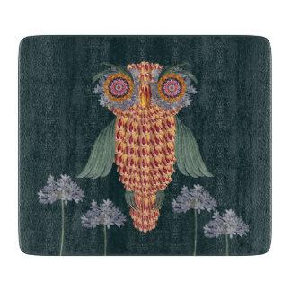 Planche À Découper Le hibou de la sagesse et des fleurs