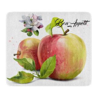 Planche À Découper Les pommes, fleurit et éclabousse