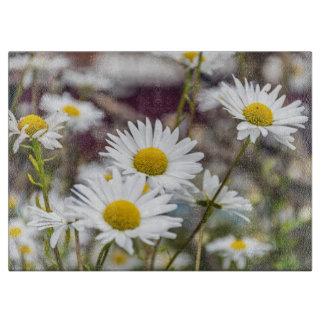 Planche À Découper Marguerites blanches en verre