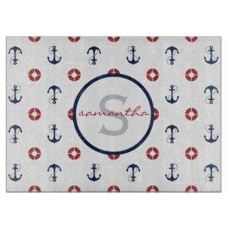 Planche À Découper Monogramme nautique de motif d'ancre et d'anneau