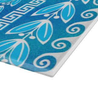 Planche À Découper Motif grec en verre turquoise bleu