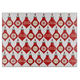 Planche À Découper Motif rouge d'ampoules de Noël