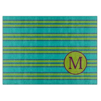Planche À Découper Nouvelle rétro rayure pourpre et verte sur le