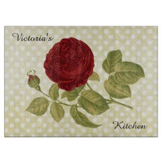 Planche À Découper Pois antique de parchemin de rose rouge