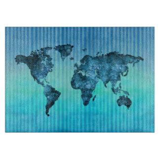Planche À Découper Rayures bleues au néon de la carte | du monde