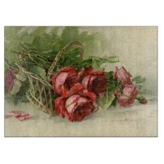 Planche À Découper Saint-Valentin vintage, roses rouges cramoisis