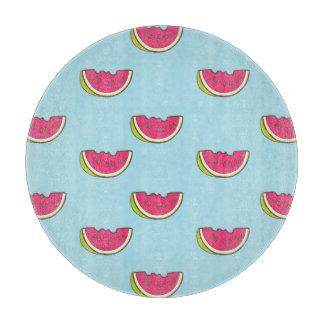 Planche À Découper Tranches de pastèque sur le motif turquoise