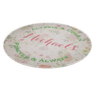Planche À Découper Verre rond élégant floral vintage de cadeau de