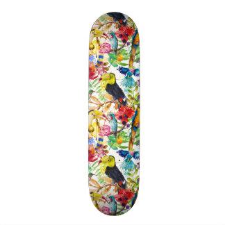 Planche À Roulette Perroquets colorés d'aquarelle