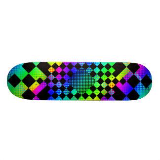 Planche à roulettes Checkered d'arc-en-ciel Skateboard 20,6 Cm