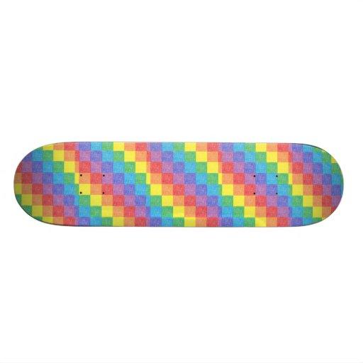 Planche à roulettes d'arc-en-ciel de patchwork skateboard customisable