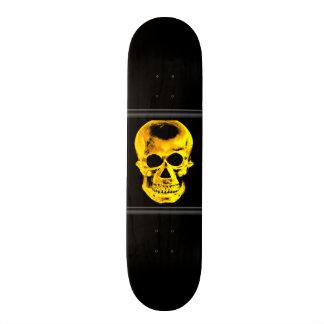 Planche à roulettes d'or de crâne skateoard personnalisé