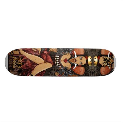 Planche à roulettes rouge Skidone de la Reine Skateboard Customisable