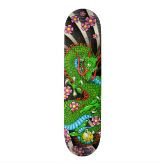 Planche à roulettes verte de tatouage de dragon de skateboard old school  21,6 cm