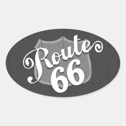 Planche de recouvrement de l'itinéraire 66 autocollant ovale