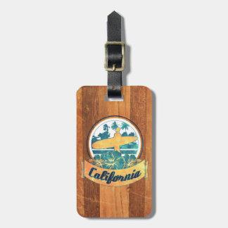 Planche de surf de la Californie Étiquettes De Bagages