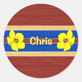 Planche de surf jaune en bois de faux de ketmie sticker rond