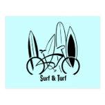 Planches de surf et vélo cartes postales