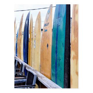 Planches de surf vintages sur la plage de Montauk Cartes Postales