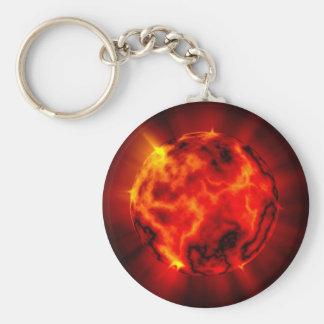Planète brûlante porte-clé rond