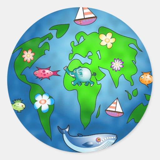 Planète de natures adhésifs ronds