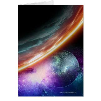 Planète et sa lune. Illustration d'ordinateur d' Carte De Vœux
