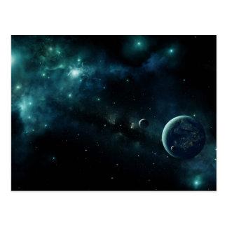Planète habitée dans l'espace carte postale