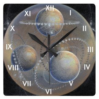 Planètes enes ivoire horloge carrée
