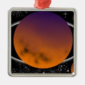 planets ornement carré argenté