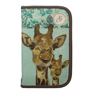 Planificateur bleu de monogramme de girafes de dam agenda folio