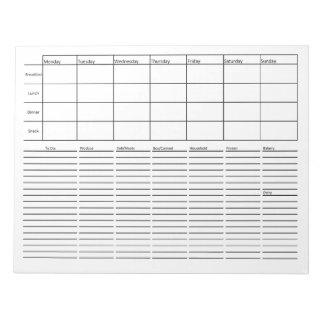 Planification de repas et liste d'épicerie blocs notes