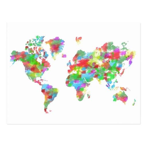 Planisphere fantaisie d 39 aquarelle carte du monde carte for Pinterest weltkarte