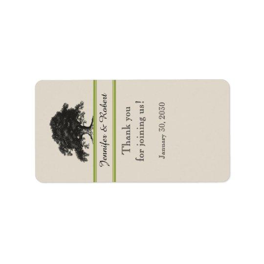 Plantation de chêne dans l'étiquette de baume à étiquette d'adresse