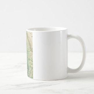 Plantes d'ail dans les rangées dans le jardin mug